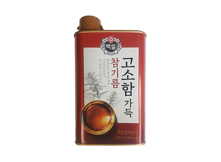 백설)참진한참기름400ml(캔)