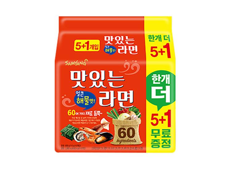 삼양)맛있는라면해물맛115g*5+1