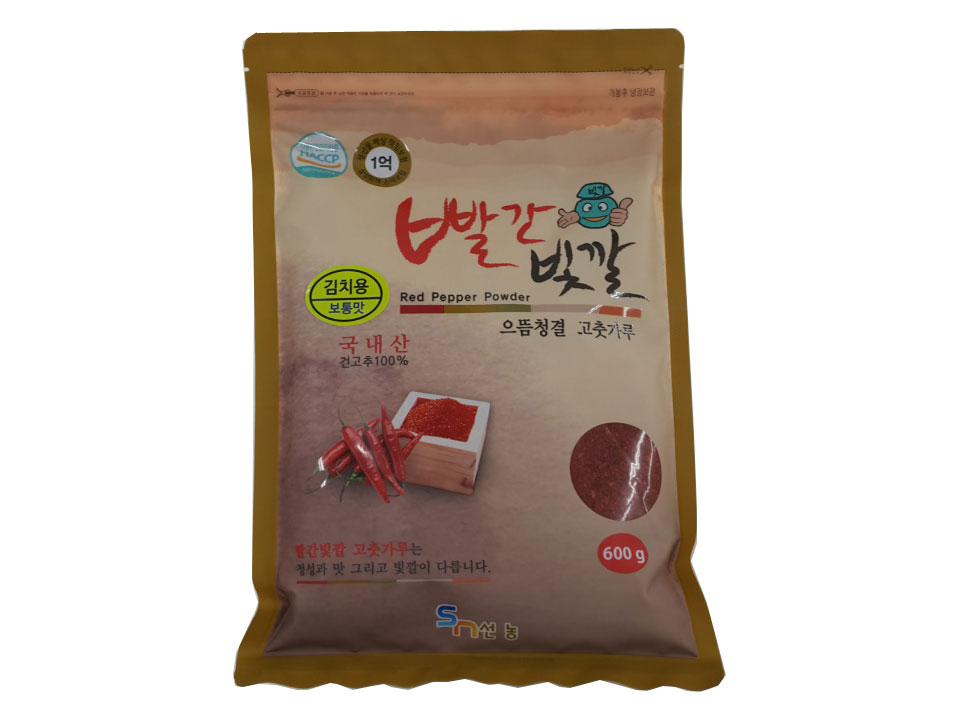 빨간빛깔고추가루보통맛600g(국산,김치용)